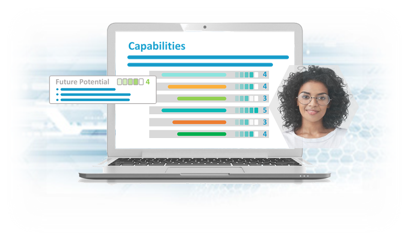 Pre-hire assessment capability report on screen. Pre-hire assessment HR manager.